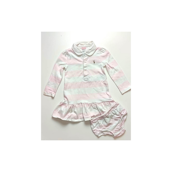 Ralph Lauren Pink and White Striped Rugby Dress with Bloomers