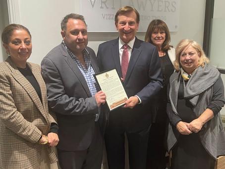 Ron Hoenig MP Visits VRT Lawyers to Pay Tribute to Joe Vizzone
