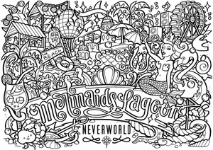 Black and white drawing that is a colouring in page featuring the Mermaids Lagoon, a Realm found at Neverworld Festival