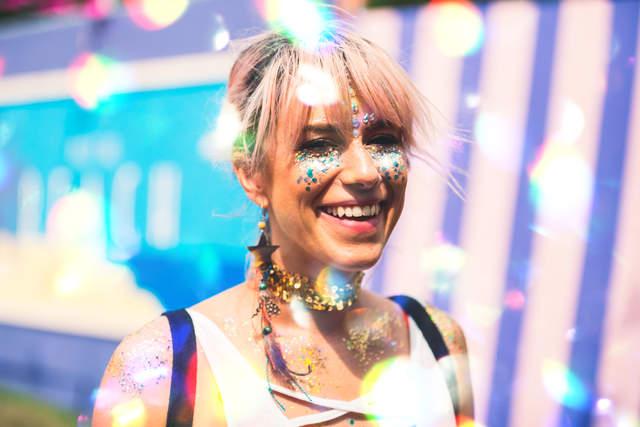 sparkly girl dappled light
