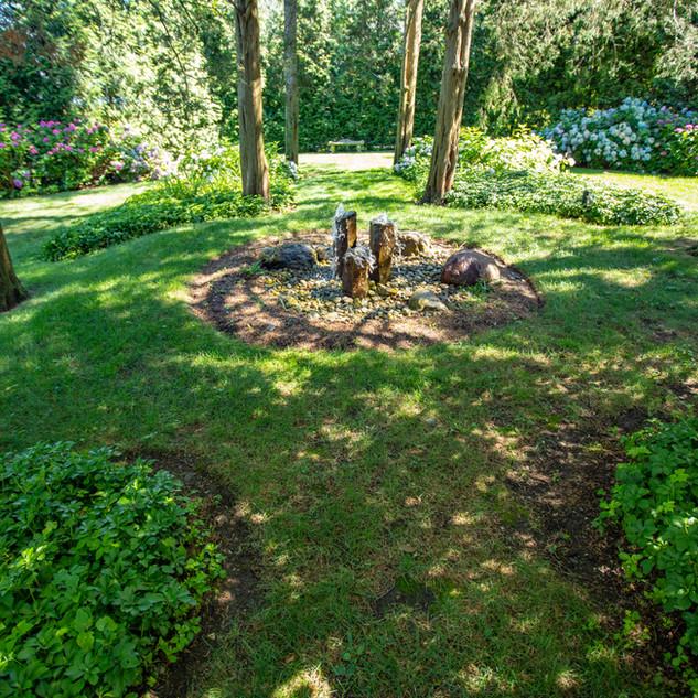close up of meditation garden