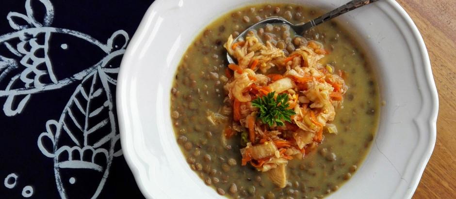Čočková polévka s kimči