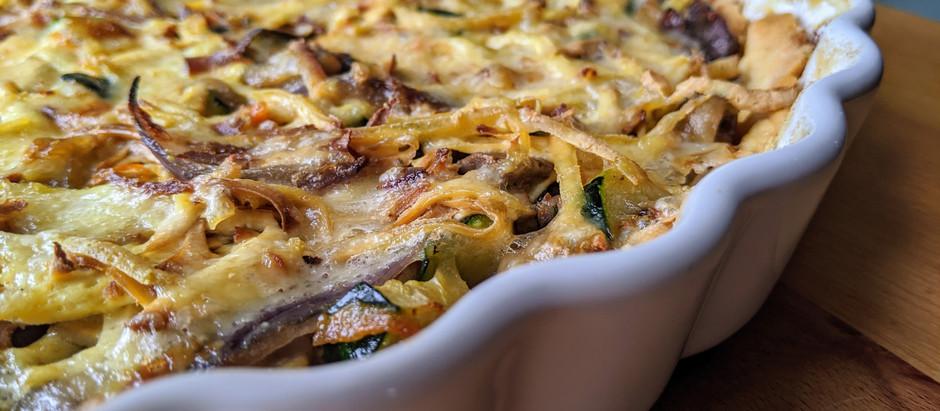 Sýrový koláč s opečenou zeleninou
