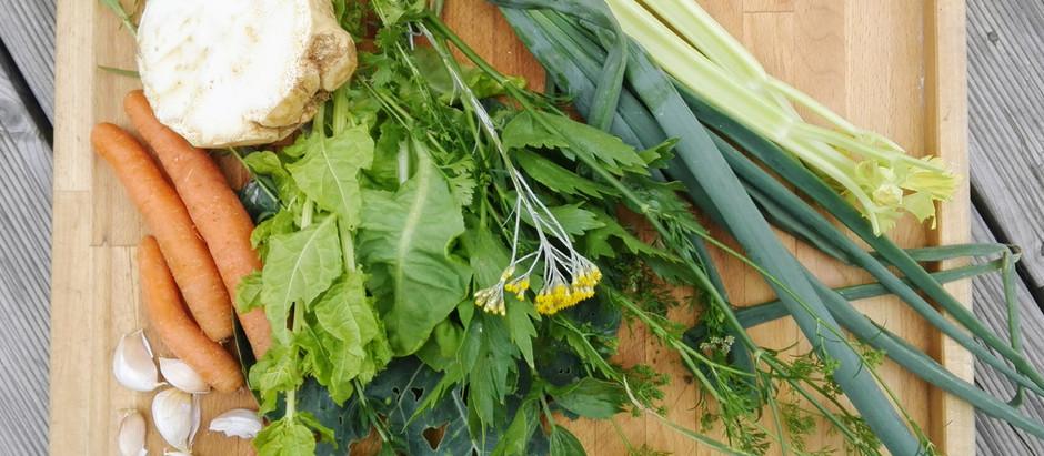 Zeleninová křupavá polévka s domácími nudlemi