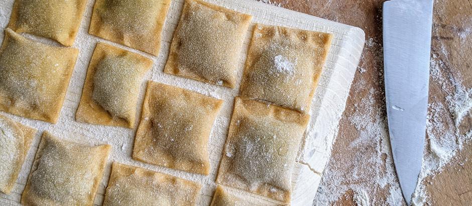 Ravioli se špenátem a mozzarellou