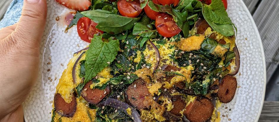 Frittata s mangoldem a vegechorizem