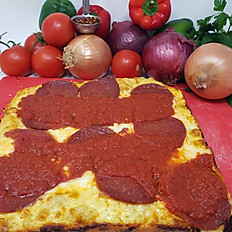 """Authentic Detroit Style """"Red Top"""" 1 Topping 8x10 Inch (6 Squares)"""