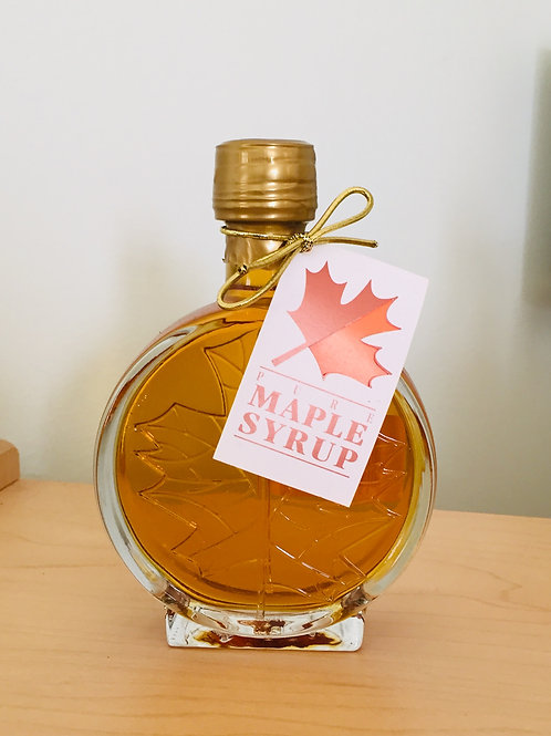 Decorative Glass Maple Syrup  - Round Leaf