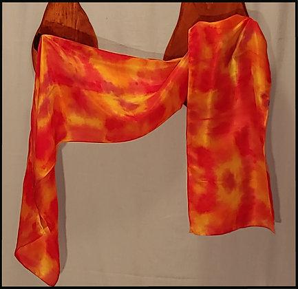 Fiery Bright Silk Habotai Scarf