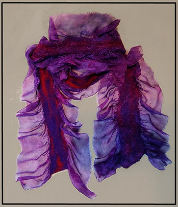 Purple Red and Magenta Silkcloque Scarf