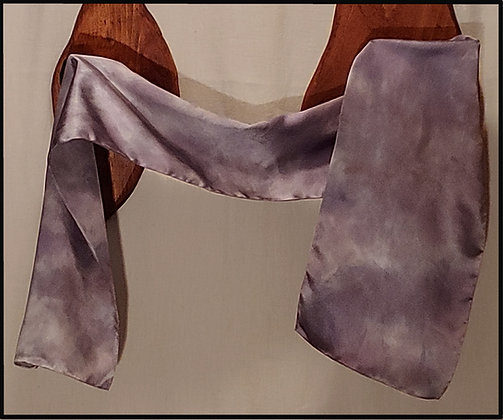 Misty Gray Silk Satin Scarf