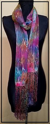 Fringed Jewel Tone Devore Silk Scarf