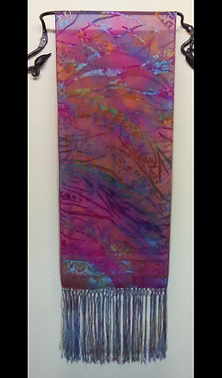 Large Rectangular Silk Devore Shawl with Fringe