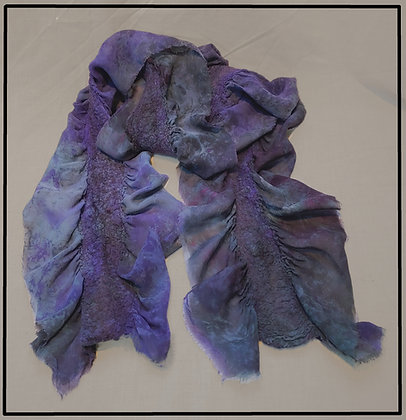 Purple and Gray Felted Silk Scarf