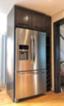 Oak fridge cabinet, wine rack