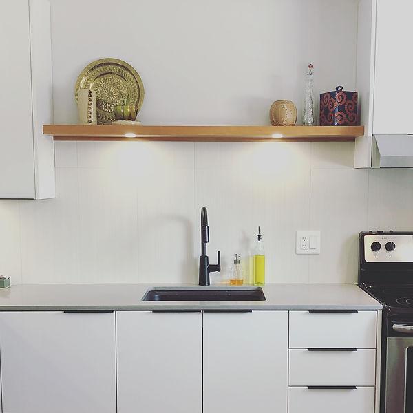 White high-gloss kitchen, Cherry wood open shelf.