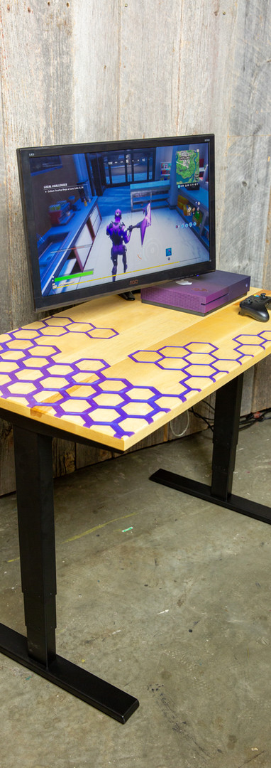 Purple epoxy gaming desk_