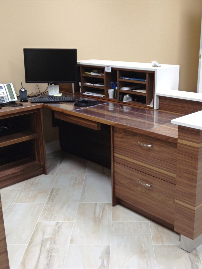 Walnut & Caesarstone reception desk 3_