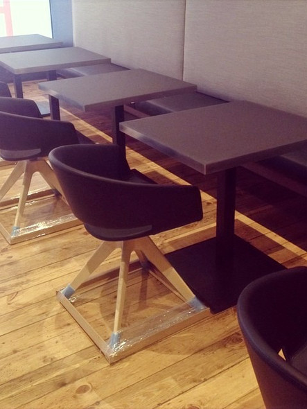 Formica restaurant tables and bench seat
