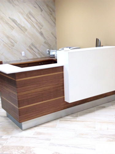 Walnut & Caesarstone reception desk_