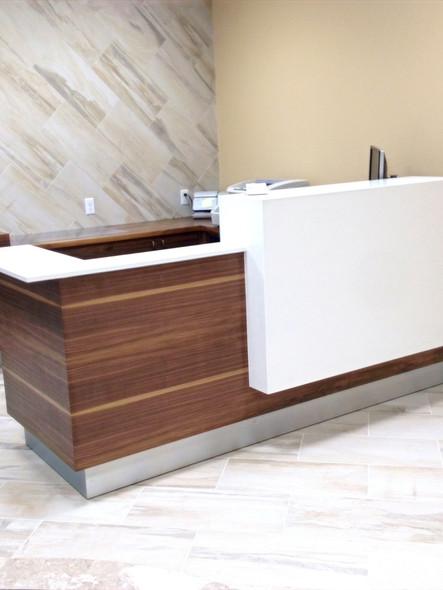 Walnut & Caesarstone reception desk_