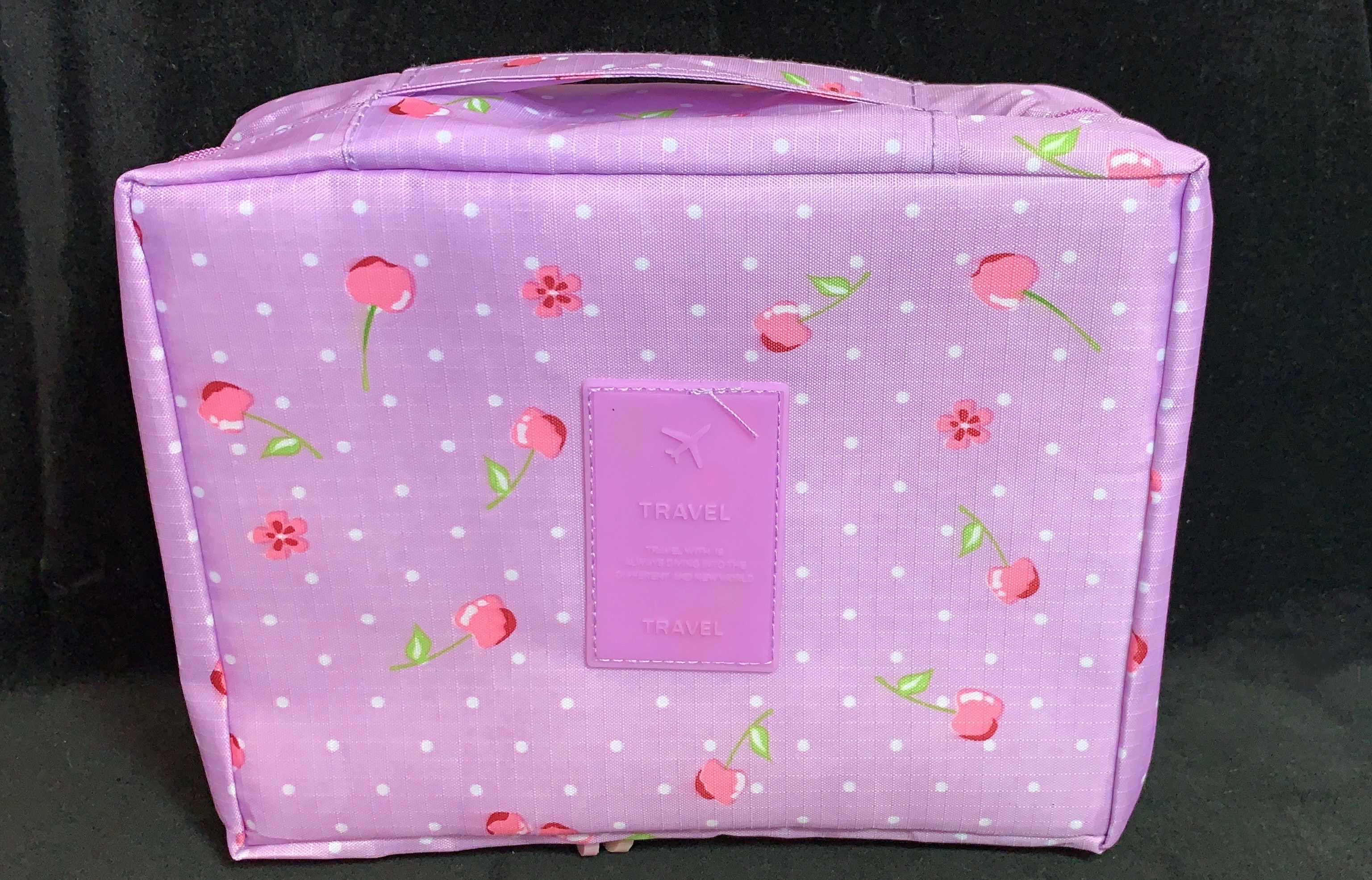 Purple cherry cosmetic bag