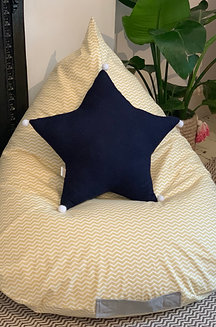 Linen pompom star cushion