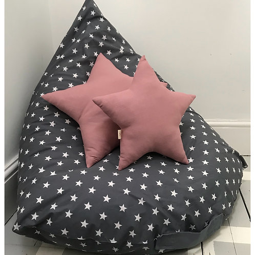 Large grey large white stars pyramid beanbag cover