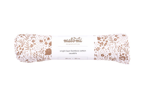 LARGE BAMBOO COTTON SWADDLE CARAMEL MEADOW