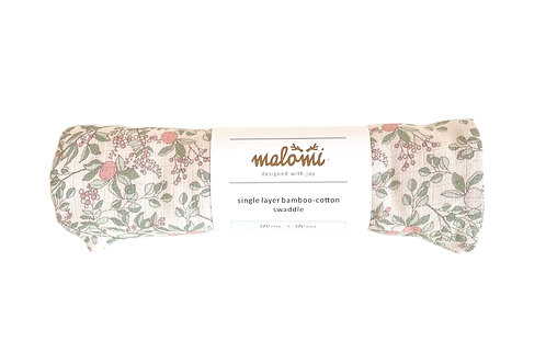LARGE BAMBOO COTTON SWADDLE APRICOT NATURAL