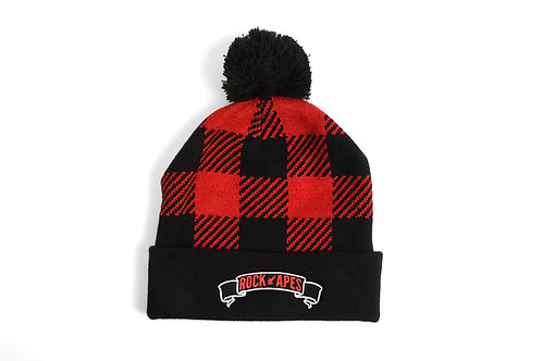 Rock of Apes Buffalo Plaid Pom Pom Beanie