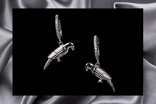 Rainforest Kisses Sterling Silver Parrot Earrings
