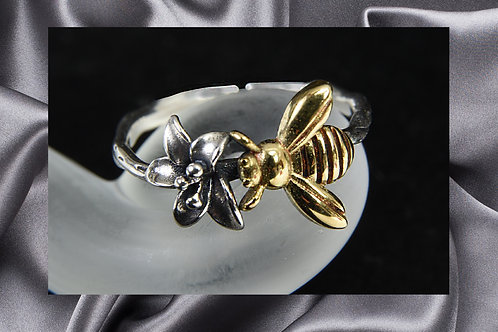 Pongo Flower Bee Sterling Silver Ring