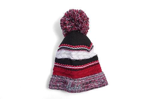Indah Colorblock Knit Winter Pom-Pom Hat