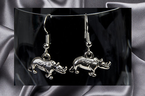 Pongo Vintage Silver Rhino Dangle Earrings