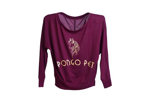 Pongo Pet Horse Flowy Long Sleeve Off the Shoulder Ladies T-Shirt