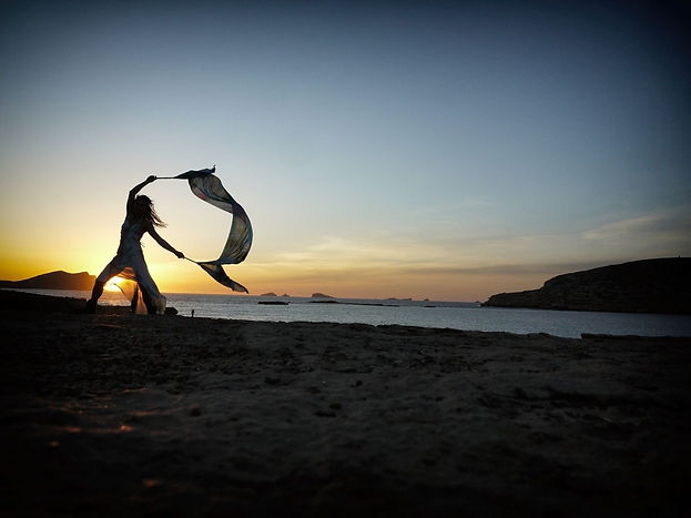shamanic tribal dance sunset sea