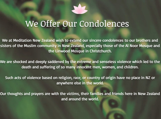Our Condolences to the Muslim Community in NZ