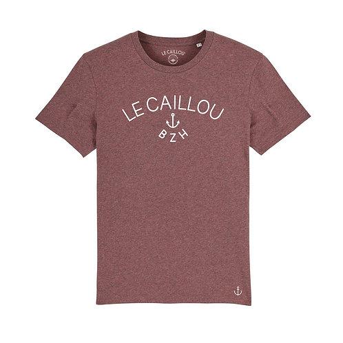 """T-shirt Mixte """"LE CAILLOU BZH"""" Canneberge chiné"""