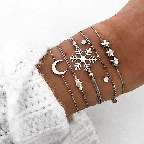 Bohemian Star Moon Snowflake Opal Bracelet Set