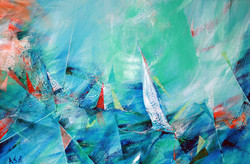 47 -Ocean Jazz _ Acrylic_Collage on canvas ; 24x40 inches
