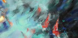 40-Regatta 2. Acrylic on canvas 18x36 inches. 2015