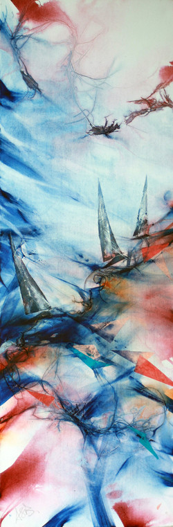 51-Drifting acrylic_collage on canvas 18x40  inches 2013