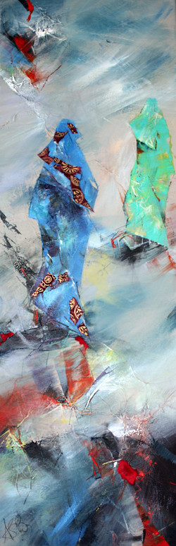 43-Souq, Acryli&Collage on canvas,  12x35 inches 2016
