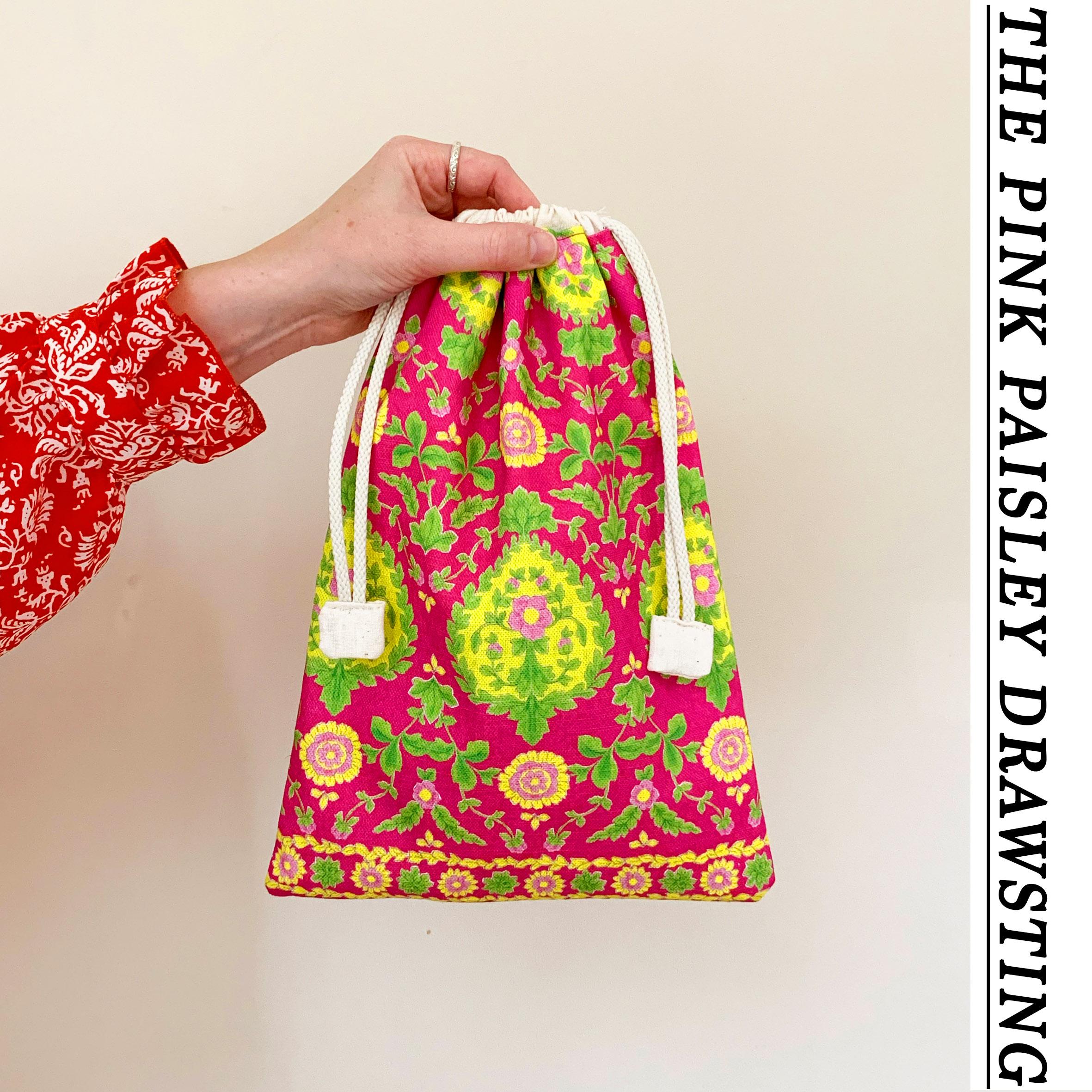 PINK PAISLEY DRAWSTRING BAG