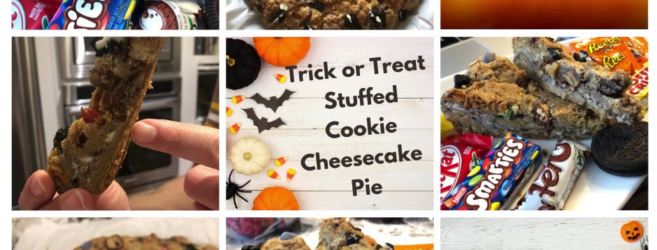 Trick or Treat Oreo Cheesecake Cookie Pie