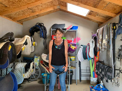 Kristin, New staff, in the tack room with the new Skylight