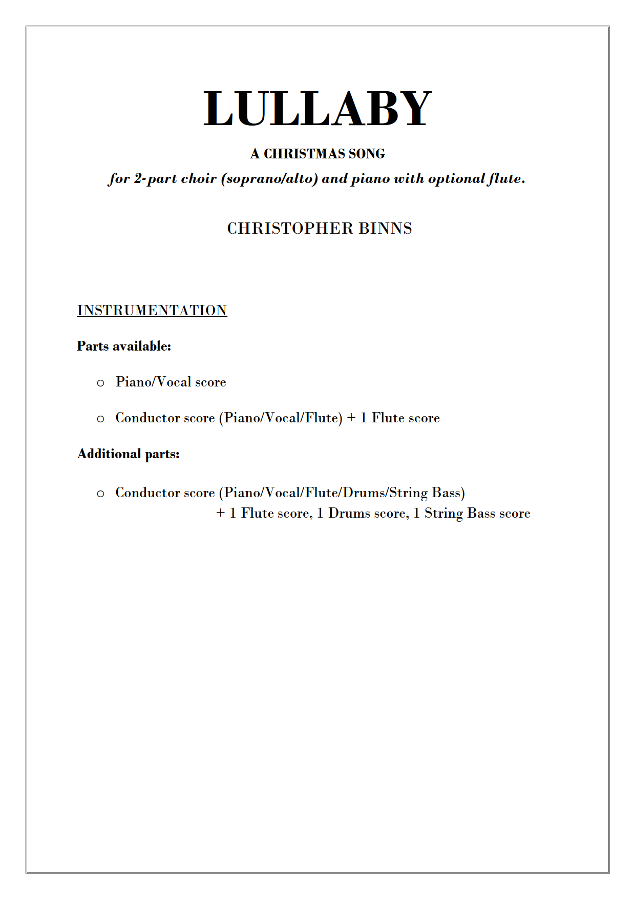 LULLABY - Instrumentation List