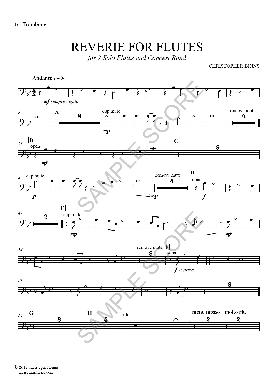 Reverie For Flutes -  1st Trombone