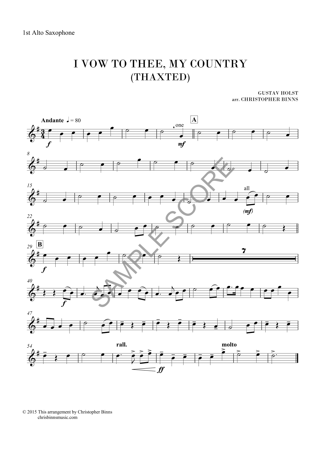 I Vow to Thee - 1st Alto Sax